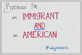 "view Sign from Women's March on Washington with ""...I'm an Immigrant and an American"" digital asset number 1"