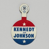 view Folding tab button for Kennedy - Johnson 1960 presidential campaign digital asset number 1
