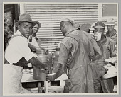 view <I>WASECA – BARBADOS ISLAND STORY: FILLING CUPS AT COFFEE URN AT END OF CHOW LINE</I> digital asset number 1