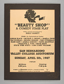 view Poster for the premiere performance of the play Beauty Shop digital asset number 1