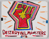 """view Sign with """"Destroy All Monsters"""" used in the Unite the Right counter-protest digital asset number 1"""