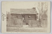 view Albumen print of a woman and two children in front of a log house in Georgia digital asset number 1