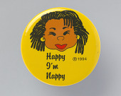 "view Pinback button with ""Happy I'm Nappy"" and image of a woman with locked hair digital asset number 1"
