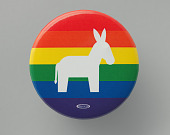 view Pinback button for the Democratic Party with LGBTQ rainbow stripes digital asset number 1