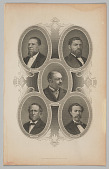 view Engraved portrait of five members of Reconstruction Congresses digital asset number 1