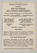 """view Flier for """"The 13th Annual Zulu Nation Anniversary"""" digital asset number 1"""