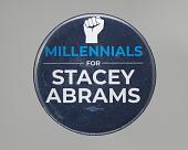 "view Pinback button reading ""Millennials for Stacey Abrams"" digital asset number 1"