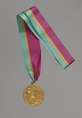view 1984 Olympic Gold Medal for Men's Long Jump awarded to Carl Lewis digital asset number 1
