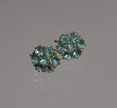 view Pair of teal rhinestone flower earrings from Mae's Millinery Shop digital asset number 1