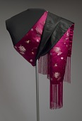 view Pink satin scarf with brocaded flowers and fringe from Mae's Millinery Shop digital asset number 1