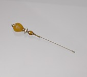 view Hatpin with amber and gold decorations from Mae's Millinery Shop digital asset number 1
