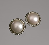 view Circular pearl and rhinestone earrings from Mae's Millinery Shop digital asset number 1
