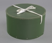 view Green circular hatbox with lid from Mae's Millinery Shop digital asset number 1