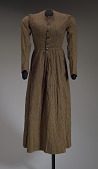 view Brown and cream striped day dress from the Civil War era digital asset number 1