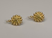 view Pair of tété négresse style gold earrings with yellow stones digital asset number 1