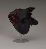 view Black satin turban with red flowers and black bow from Mae's Millinery Shop digital asset number 1