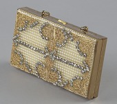 view Metal cosmetic case with rhinestones and beads from Mae's Millinery Shop digital asset number 1