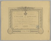 view Certificate for French Croix de Guerre medal issued to Cpl. Lawrence L. McVey digital asset number 1