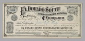 view Stock certificate for 100 shares in El Dorado South Consolidated Mining Co. digital asset number 1