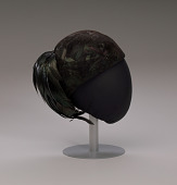 view Black hat with iridescent black feathers from Mae's Millinery Shop digital asset number 1