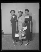 view Studio Portrait of Three Women Standing Holding their Purses digital asset number 1