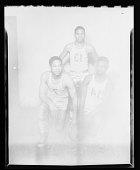 view Studio Portrait of Three Boys Standing Wearing a Basketball Uniform digital asset number 1