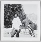 view Photographic print of an unidentified woman posing in front of a mountain digital asset number 1