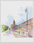 view Architectural illustration of the new Student Center at UDC by Michael Marshall digital asset number 1