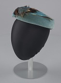 view Teal pillbox hat with bird decoration from Mae's Millinery Shop digital asset number 1