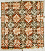 view William Craig; coverlet; Figured and Fancy; double-cloth; 1850; Indiana digital asset: Red, white and blue Jacquard double-woven coverlet made by a member of Craig family of Indiana in the middle of the 19th century