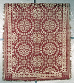 view John McLaughlin; coverlet; Figured and Fancy, double cloth; 1848; Ohio digital asset: Red and white double-woven Jacquard coverlet, woven in Logan Co.Ohio in 1848. Center features roses and stars, while the border is a long chain of flowers.