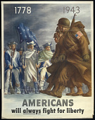 "view ""1778-1943 Americans Will Always Fight for Liberty"" Poster digital asset: '1778-1943 Americans Will Always Fight for Liberty' poster"