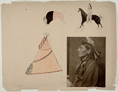 view Photograph of Whirling Horse, Sioux Indian mounted with drawings of buffalo, tipi, Indian and horse digital asset number 1