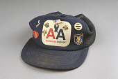 view Baseball Cap, American Airlines digital asset: Baseball cap, American Airlines, with commemorative pins of the four hijacked airliners on September 11, 2001.