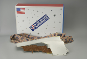 view Airplane fragment in patriotic box digital asset: Box and airplane fragment from American Airlines Flight 77.