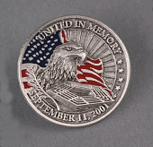 view September 11 commemorative coins digital asset: Lapel pin, United in Memory, commemoration of lives lost in the September 11, 2001 attack on the Pentagon.