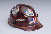 view Iron worker's hard hat digital asset: Iron worker's hard hat with patriotic stickers