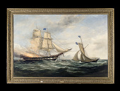view Oil Painting, <I>The</I> Queen of the Ocean <I>Going to the Rescue of the</I> Ocean Monarch digital asset: Painting, Queen of the Oceans/Ocean Monarch