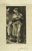 view Girl Holding Lamb digital asset: Print by Jean Leon Gerome Ferris - New Born Lamb