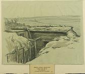 view German Outpost, Montfaucon digital asset: Sketch by Ernest Clifford Peixotto, German Outpost, Montfaucon