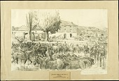 view Artillery Horses in the River at Andilly digital asset: Sketch by Morgan Wallace, Artillery Horses in the River at Andilly