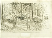 view Dugouts of the 5th Marines digital asset: Sketch by Morgan Wallace, Dugouts of the 5th Marines