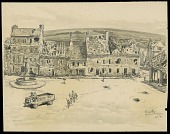 view The Market Place, Fere-En-Tardenois digital asset: Sketch by Ernest Clifford Peixotto, The Market Place, Fere-En-Tardenois