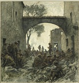view Troops Waiting to Advance at Hattonchâtel - St. Mihiel Drive digital asset: Drawing by William James Aylward, Troops Waiting to Advance at Hattonchatel - St. Mihiel Drive