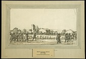 view Troops Advancing through Seicheprey, St. Mihiel Offensive digital asset: Sketch by J. Andre Smith, Troops Advancing through Seicheprey