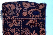 "view ""Liberty"" pattern Jacquard coverlet fragment, 19th century digital asset number 1"