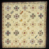 view 1840 Eliza Hussey's Masonic Symbols Quilt` digital asset: Overall