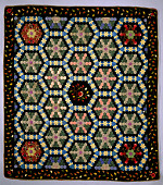 view 1840 - 1860 Hexagon Silk Quilt digital asset number 1