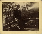 view [Celine Swarts Baekeland sitting on a log] [photograph] digital asset: [Celine Swarts Baekeland sitting on a log] [photograph]