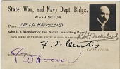 view [Leo Baekeland's State, War, and Navy Dept. Bldgs. identification card.] digital asset: [Leo Baekeland's State, War, and Navy Dept. Bldgs. identification card.]